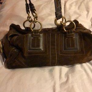 Coach brown suede handbag